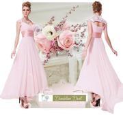 Вечернее розовое платье со шлейфом.