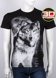 Мужская футболка,  волк,  3 D